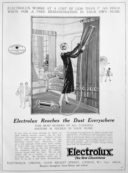 Electrolux vacuum cleaner advert, 1924.